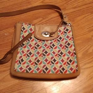 Woman fossil crossbody multi color beige leather